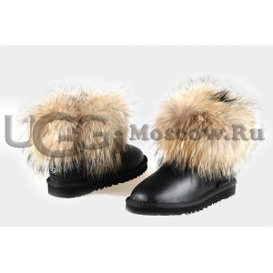 UGG Women With Fox Fur Metallic mini - Black