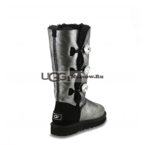UGG Women Bailey Button Triplet Glitter Bling - Black