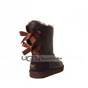 Ugg Women Bailey Bow Metallic Short - Chocolate