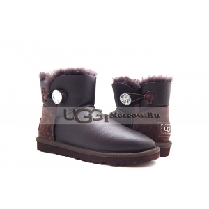 UGG Bailey Button Mini Metallic Bling - Chocolate