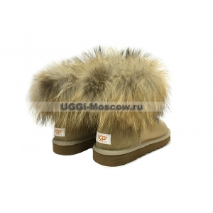 UGG Women With Fox Fur mini - Soft Gold