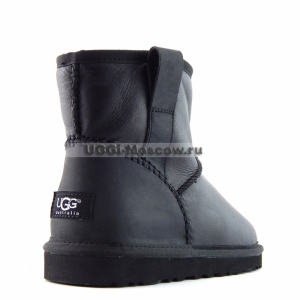Ugg Women Classic Mini Leather STITCH - Black